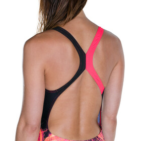 speedo HeatShine Placement Digital Powerback Swimsuit Women Black/Postitpink/Fluoorange/White